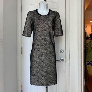 Love Moschino black Lace Overlay shift midi Dress